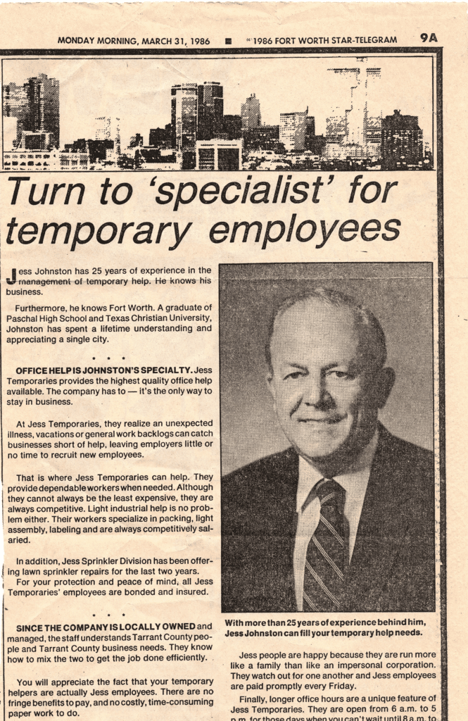 A worn, beige Fort Worth Star-Telegram newspaper clipping from 1986 features Jess Johnston, the original family member of our current CEO to work in staffing, smiling.