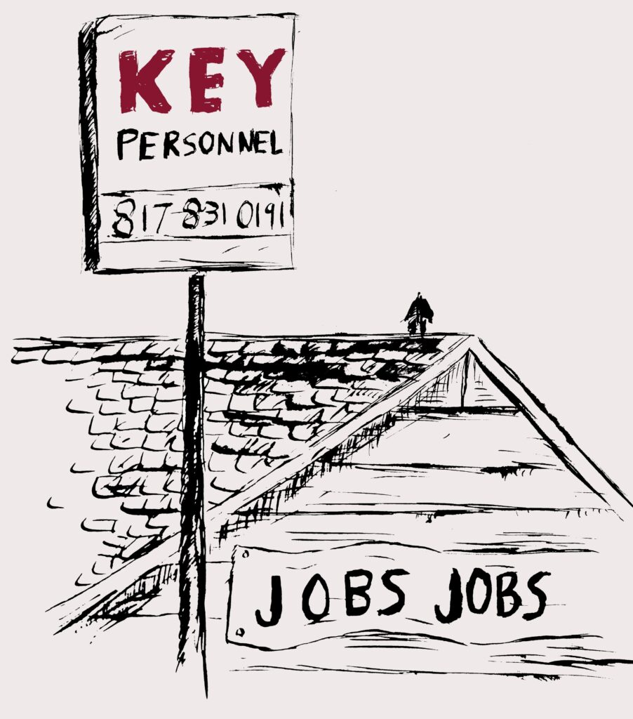 "Ink drawing of original KP Staffing building with a sign that says ""JOBS"" and a billboard that says ""Key Personnel"""